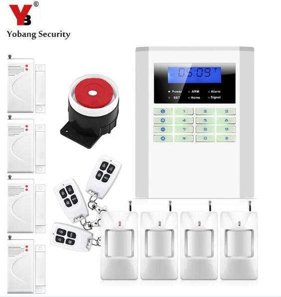 Yobang Security Wireless/Wired GSM/PSTN Home Security Alarm System Working with Wireless Door Sensor PIR Detector free shipping 99 wireless zone and 2 wired quad band lcd home security pstn gsm alarm system 3 pet immune pirs 5 new door sensor