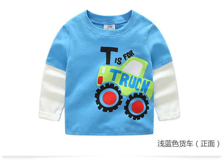 2018 Spring Autumn For 2-9 10 Years Children Cotton Striped Patchwork Cartoon Car Bus Truck Baby Kids Boys Long Sleeve T Shirts (38)