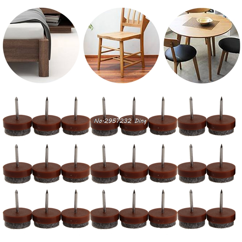 24Pcs 20mm Round No-noise Furniture Table Chair Feet Legs Glides Skid Tile Felt Pad Floor Nail Protector  CHE85