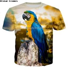 PLstar Cosmos 2018 Summer Men Casual Tees Red Parrot 3d Print T Shirt Men/Women Hip Hop T-shirt Tee shirt Cool Clothing Unisex