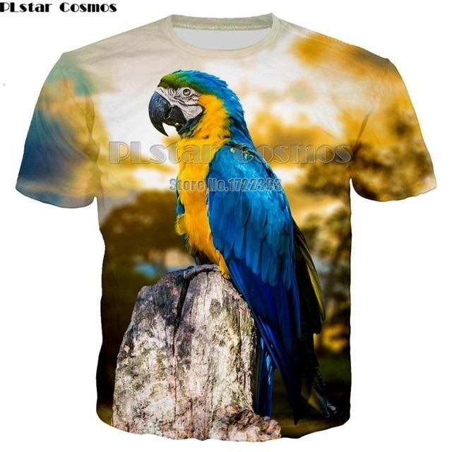 72a517a3 PLstar Cosmos 2018 Summer Men Casual Tees Red Parrot 3d Print T Shirt Men/ Women Hip Hop T-shirt Tee shirt Cool Clothing Unisex