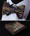 BF425NS Orange Green Floral Bowtie Men Silk Self Bow Tie handkerchief set Pocket Square Classic Party Wedding