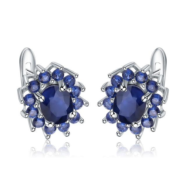 Gem's Ballet 1.89Ct Natural Blue Sapphire Earrings 925 Sterling Silver Gemstones Vintage Stud Earrings For Women Fine Jewelry