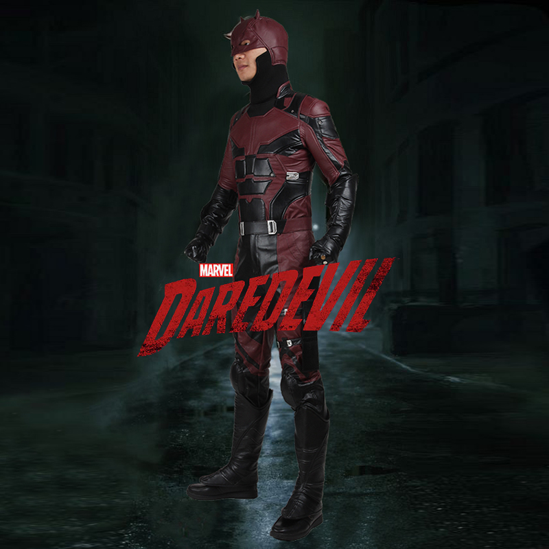 Daredevil Cosplay Costume Matt Murdock Vestiti Cosplay Superhero Outfit Puntelli Adulto Uomini del Partito di Halloween Set Completo Custom Made