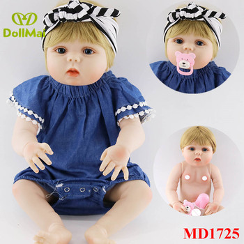 New real baby dolls 57cm full silicone reborn baby girl doll blond hair wig Bebes reborn menina bonecas can bathe toy doll gift