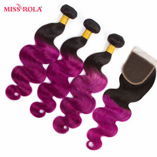 Miss Rola Hair Brazilian Body Wave Hair Weaving 3 Bundles With Closure #T1B/Purple Color  100% Human  Non-Remy Hair Extensions