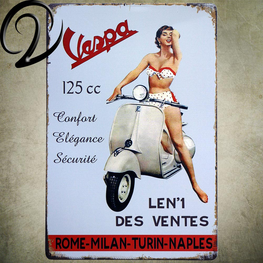 Vespa, Scooter,Route 66 Motorcycle Garage Wall Decor Man Cave Wall Crafts Art Metal Tin Sign Bar Pub Metal Craft