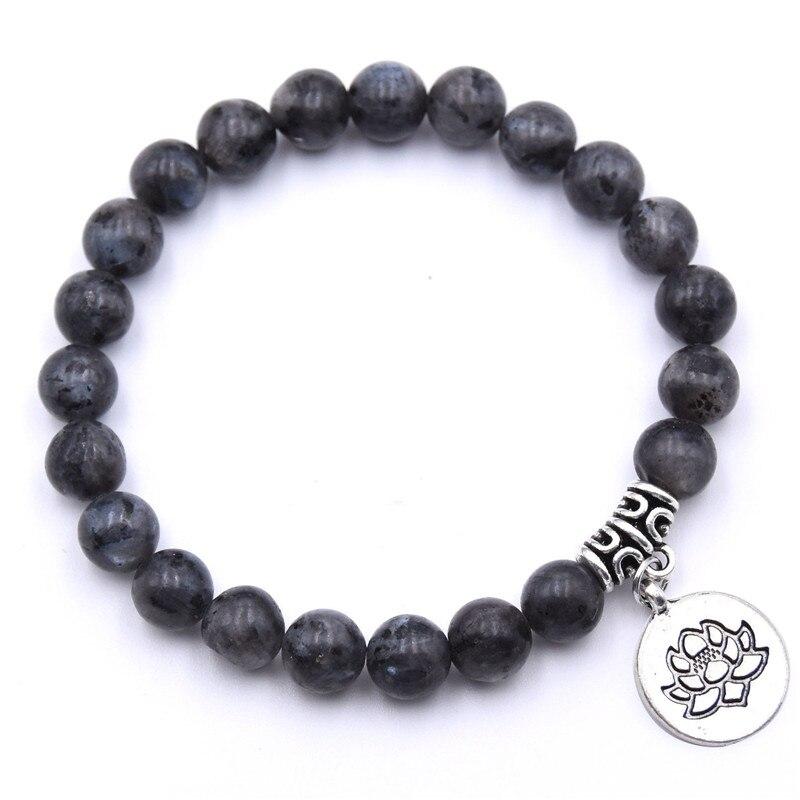 Natural Stone Lotus Buddha Beads Bracelet Matte Amazonite Mala Beads bracelets bangles For Women Men Yoga bracelet femme homme 8