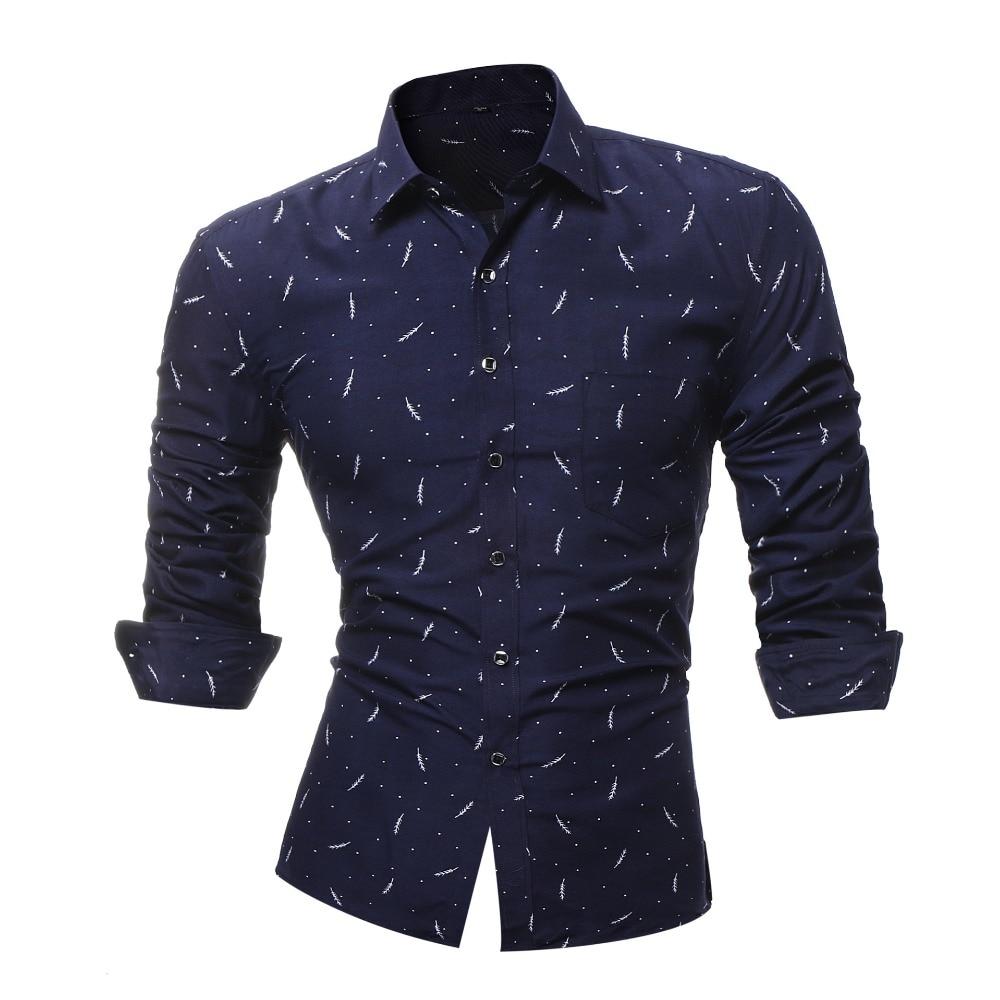 Mannelijke 2018 Nieuwe Men's Lange Mouwen Overhemd Print Shirt Men's Casual Slim Revers Mannelijke Kwaliteit Camisa Masculina Grote Maat 4xl Yu