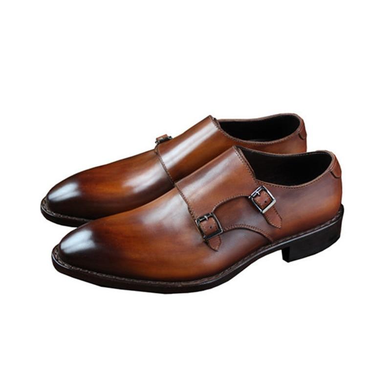 Goodyear Welted Klasik Kulit Asli Ganda Gesper Buatan Tangan pria - Sepatu Pria - Foto 5