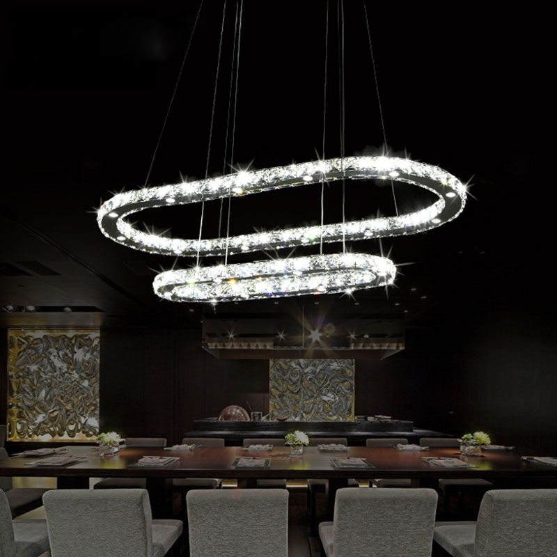 LED Crystal Chandelier Fashion Modern Dining Room Lighting Fixture Exquisite Double Ring Living Contracted Oval Indoor Lamp