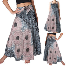 цены Bohemian Women's skirt Elastic Waist Women Long Skirt Floral Print Hippie Beach Skirt Summer Skirt 2019