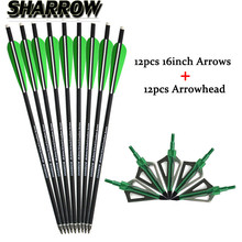 12pcs 16 Crossbow Bolts Carbon Arrows+Archery Arrowheads Replaceable Broadheads 100gr For Outdoor Practice Shooting Accessories