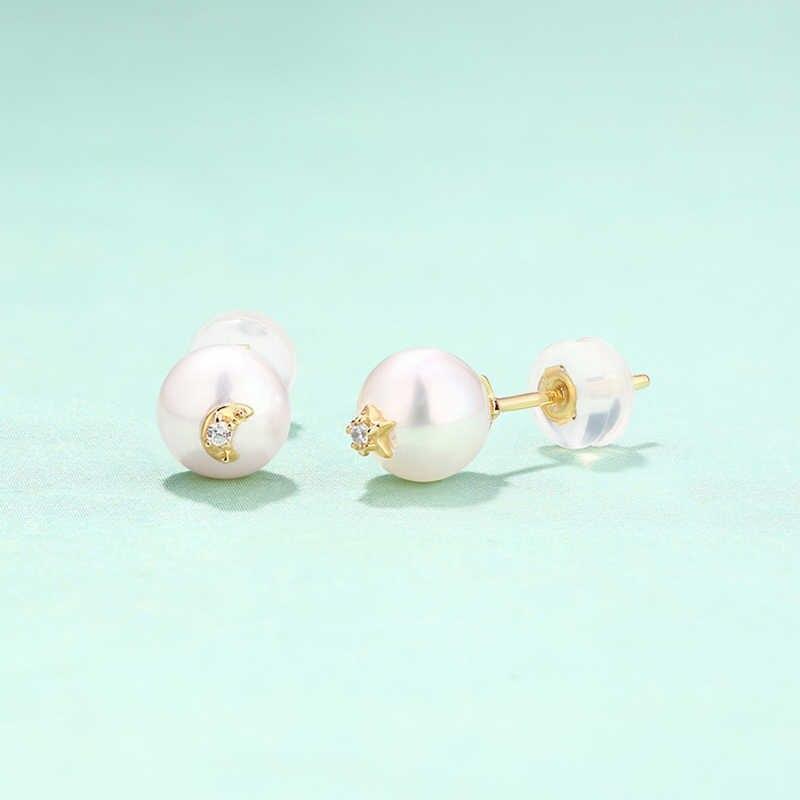 JXXGS Jewelry 14K Gold Fresh Water Pearl Stud Earrings Star And Moon Earrings For Women
