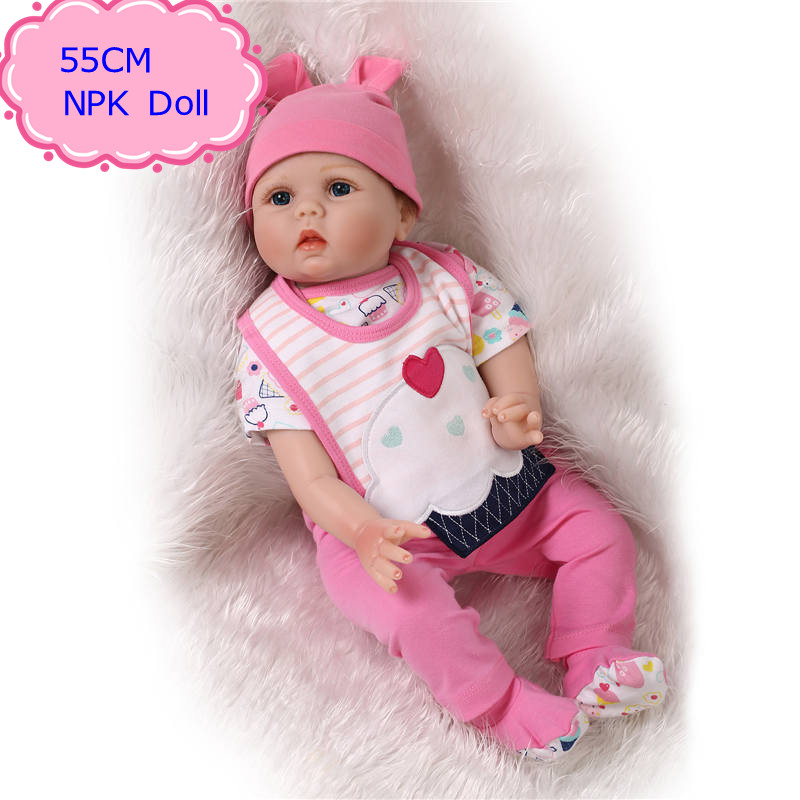 Original NPK 55cm 22'' Silicone Reborn Baby Dolls With Very Cute Baby Doll Clothes Hot Welcome Beneca Bebe Reborn Best Gift
