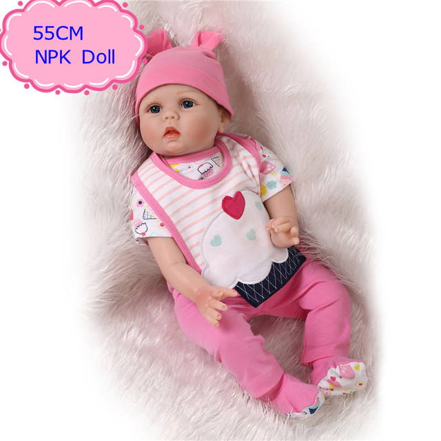c3afae752aa Original NPK 55cm 22   Silicone Reborn Baby Dolls With Very Cute Baby Doll  Clothes Hot Welcome Beneca Bebe Reborn Best Gift