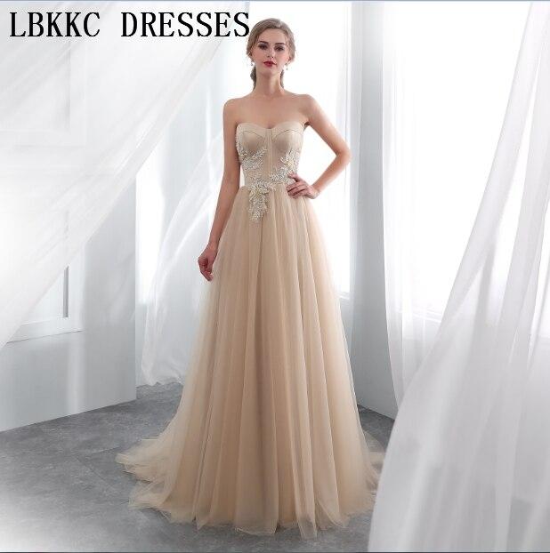 Abendkleider 2018 Champagne sans bretelles robes De soirée sans manches en Tulle coudre à la main perles Robe De soirée femmes Robe formelle