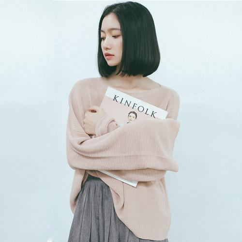 2017 Autumn Pullover Women Korean Style Flare Sleeve Casual Oversized Sweater Knitwear Brief Solid Color Pink Gray sueter mujer
