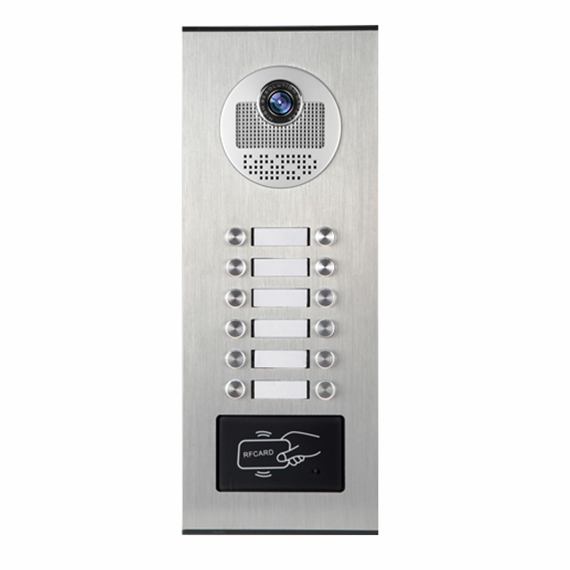JERUAN 7 INCH Video Intercom Doorbell system Kit RFID Access Entry Security Kit For 12 Apartment Camera +12 CCTV Analog Cameras