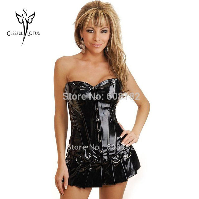 Sexy Black Leather Corselet Dress Waist Trainer Corsets And Bustier Waist Cincher Corset Girdle For Women Slimming Body Shaper