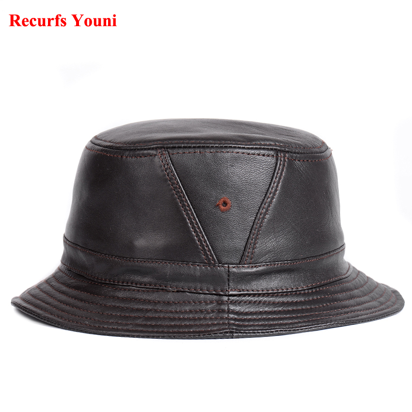 7e7f5ba39a0c12 NEW RY995 Man Real Leather Fitted Flat Bucket Hats Male Outdoor Potted Short  Brim Black/Brown Hip Pop Gorras Elderly Fishing Cap-in Bucket Hats from  Apparel ...