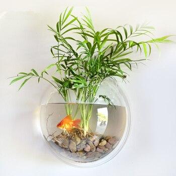 PETFORU Pot Plant Wall Mounted Hanging Bubble Bowl Fish Tank Aquarium Home Decoration Wall-Mounted Acrylic Fish Tank