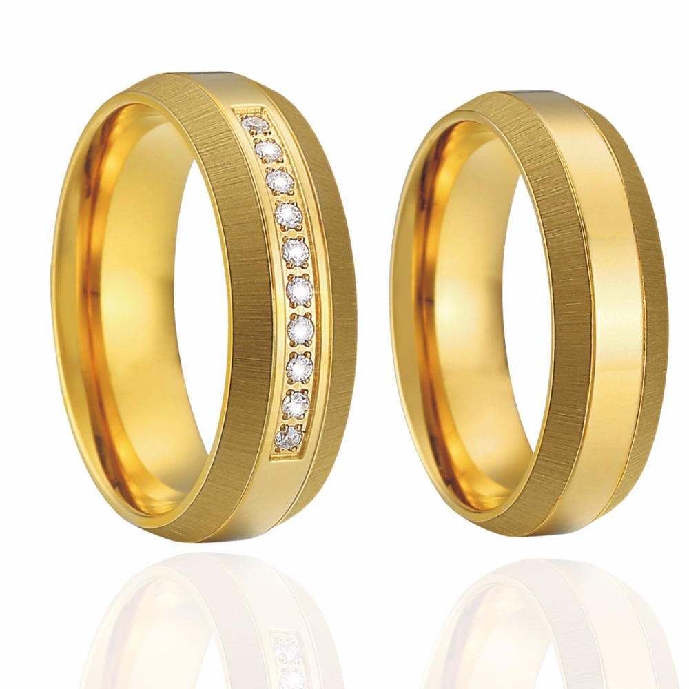 Unique Wedding Band Couple Rings pair Gold color Perfect Match Bridal Sets Engagement Rings for women