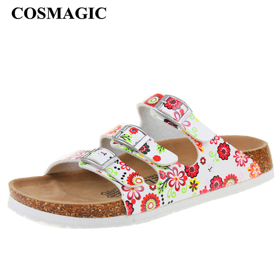 New Summer Buckle Cork Slipper Sandals Flat with Shoes ...