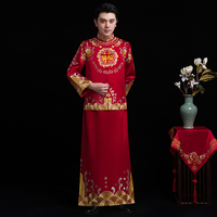 Male red cheongsam Oriental Mens Chinese style costume the groom dress vestido traditional Chinese wedding Qi pao for men
