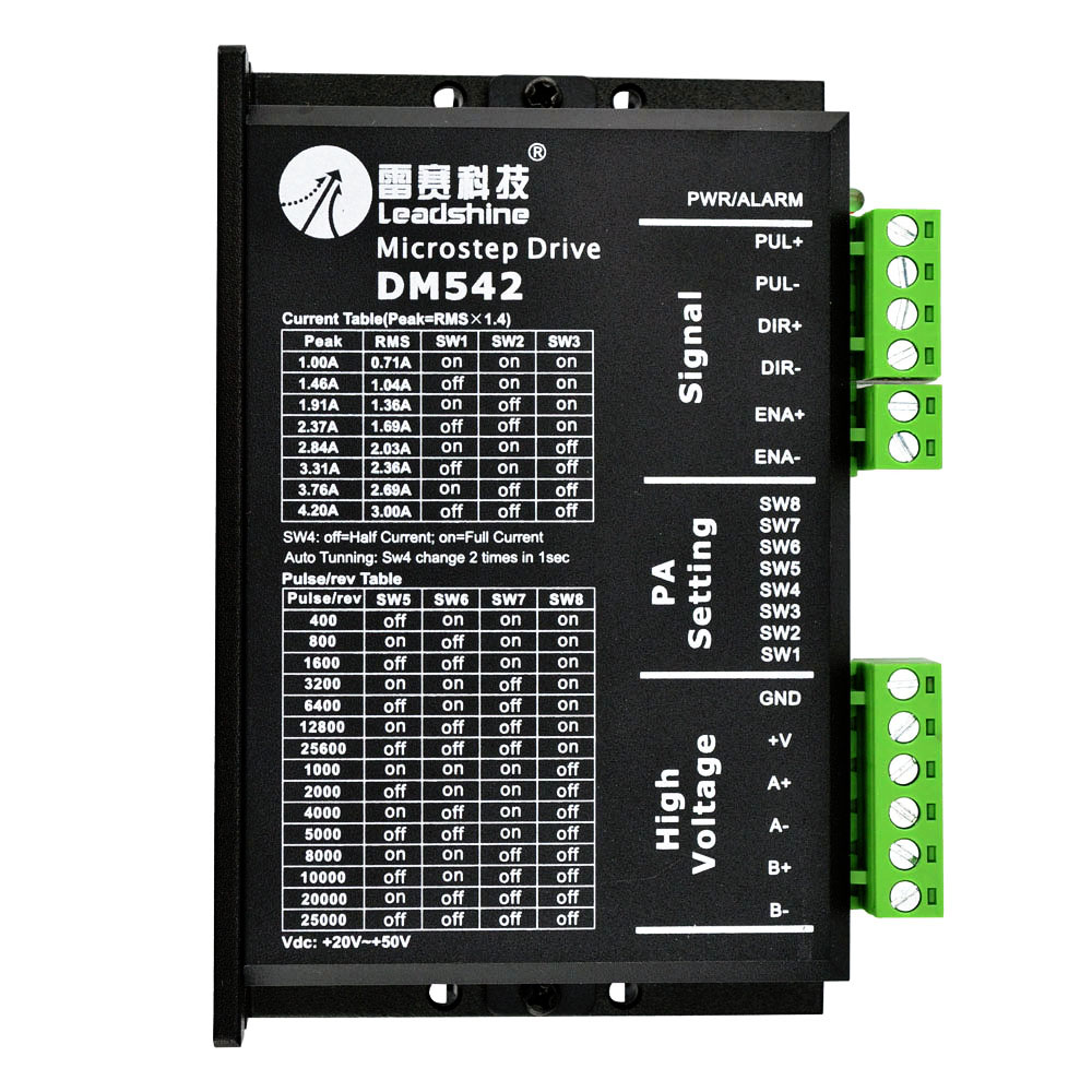 DM542 Stepper Motor Controller Leadshine 2-phase Digital Stepper Motor Driver 18-48 VDC Max. 4.1A for 57 86 Series Motor leadshine stepper motor driver 3dm 683 3 phase digital stepper drive max 60vac 8 3a