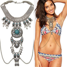 Bijoux femme gold fashion brown vintage acrylic maxi statement steampunk necklaces&pendants 2017 collares mujer choker necklace