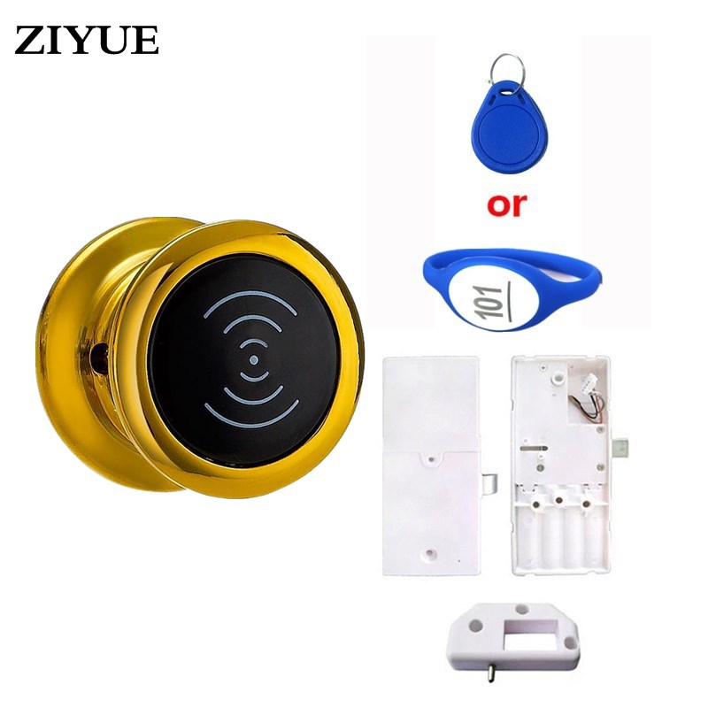 цена на 5PCS/Lot ZIYUE RF Wristband key digital Electronic Metal cabinets lock magnetic handle door lock EM115