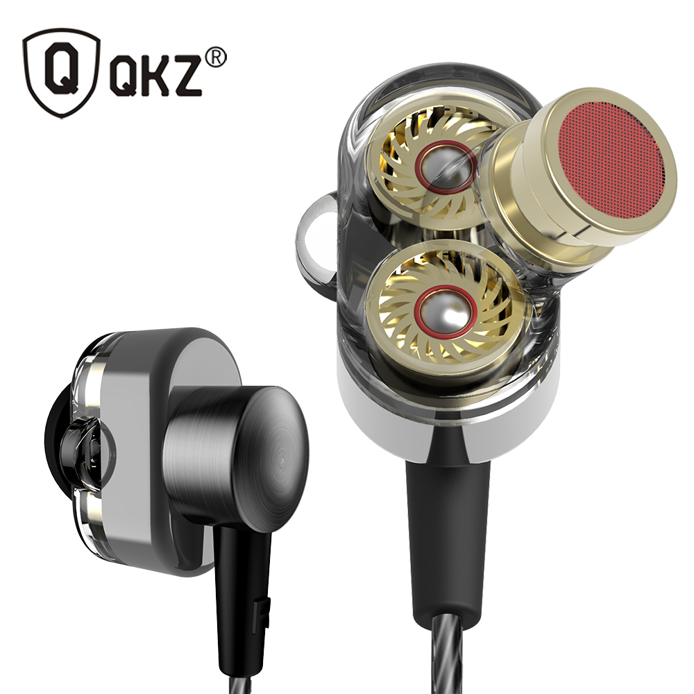 QKZ KD2 Earphone Dual Driver fone de ouvido auriculares Original hybrid dual dynamic driver in-ear earphone mp3 DJ Headset earphone original qkz dm1 supper earphone engine in ear earphone auriculares headset with microphone for iphone samsung mp3 mp4