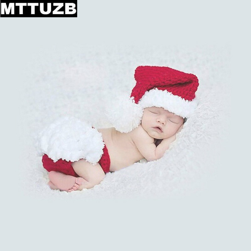 MTTUZB Photography Props Knitted Newborn Costume Outfit Xmas Set infant Crochet hats suit baby boys girls Photo Props beanies newborn crochet baby fox orange costume photography props knitting baby hat bow infant baby photo props