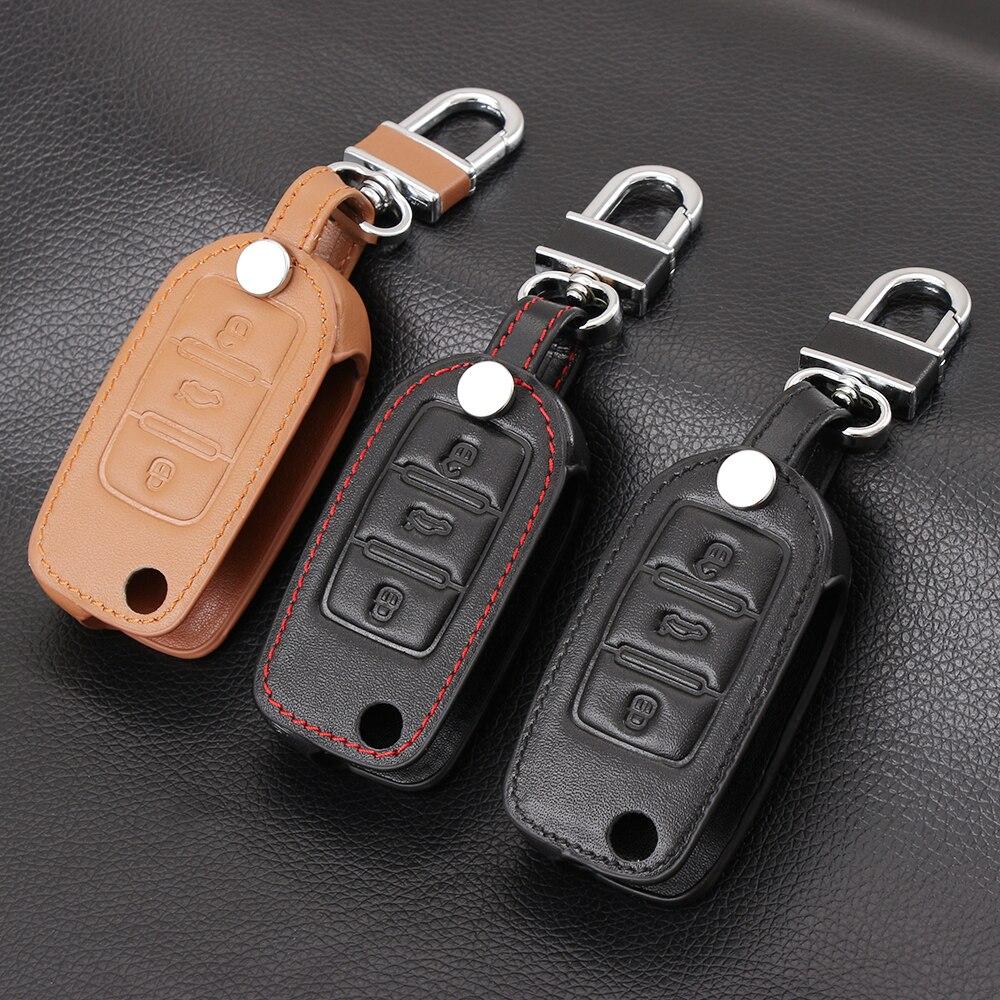 VCiiC-sac de contrôleur en cuir véritable à 3 boutons, rabat etui clés pour voiture VW, Volkswagen Jetta, Golf 4 5/6, Polo, Bora