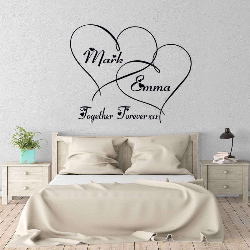 Couple Romantic Wedding Decoration Personalized Name Hearts Forever Wall Sticker Custom Name Poster Mural Fashion Decals W179 in Wall Stickers from Home Garden