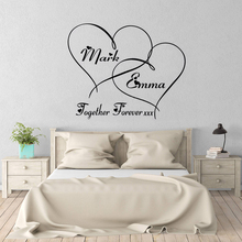 Couple Romantic Wedding Decoration Personalized Name Hearts Forever Wall Sticker Custom Poster Mural Fashion Decals W179