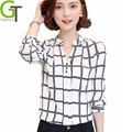 2016 New Autumn Chiffon Blouse Women Printed Plaid Shirts Chemise Femme Long Sleeve Tops Blusa Feminina Plus Size Office Shirt