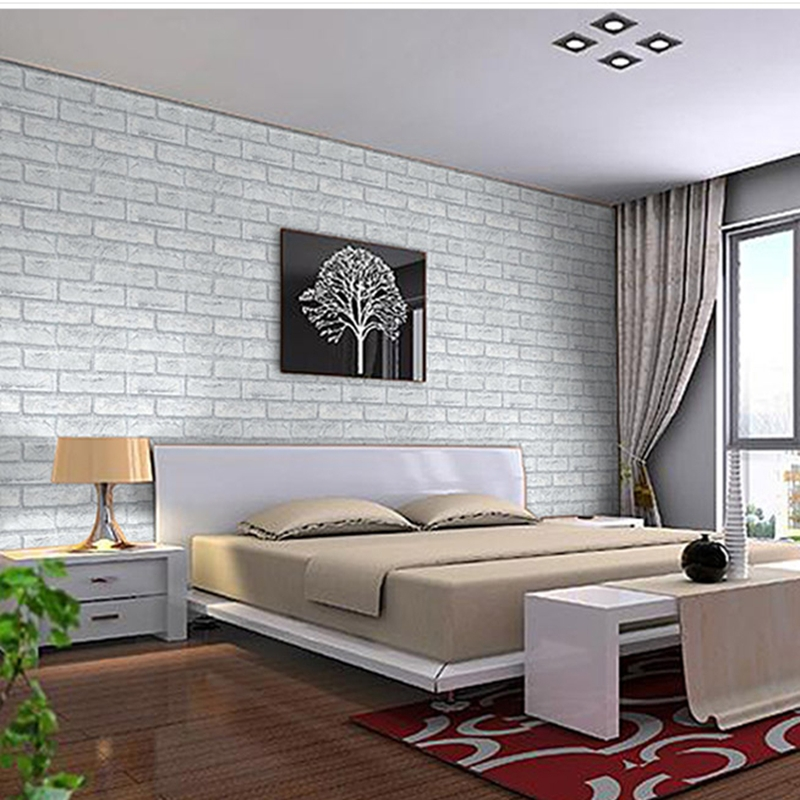 Unique purple wooden armchair white painted wall best dorm for Grey brick wallpaper bedroom