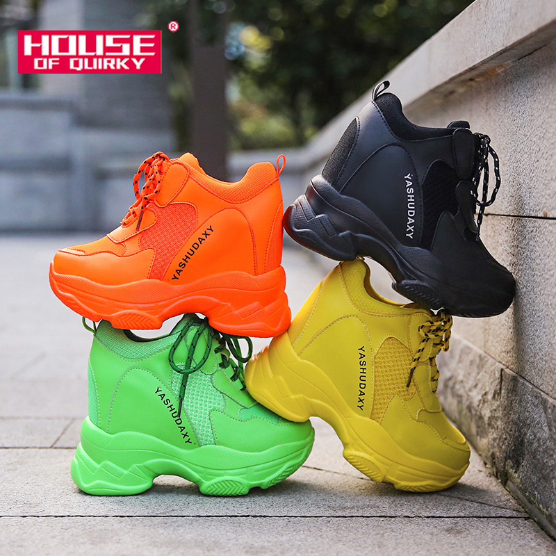 Super High Heels Platform Shoes Women Casual Shoes Breathable Mesh Sneakers Women Vulcanized Shoes Wedge Autumn Women Shoes PU