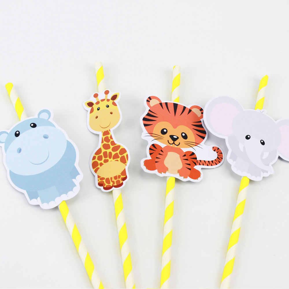 Safari Hayvanlar Saman 21 ADET Kağıt Payet Doğum Günü Partisi Şenlikli Malzemeleri Dekorasyon Kağıt Içme Payet Tatil Payet