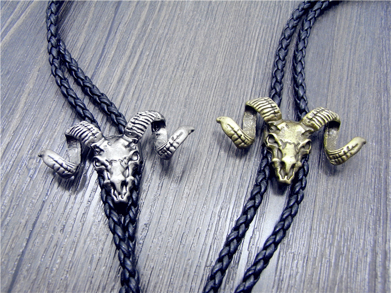 Bolo Tie New Retro Shirt Chain Sheep Head  Collar Leather Necklace Long Tie Pendant