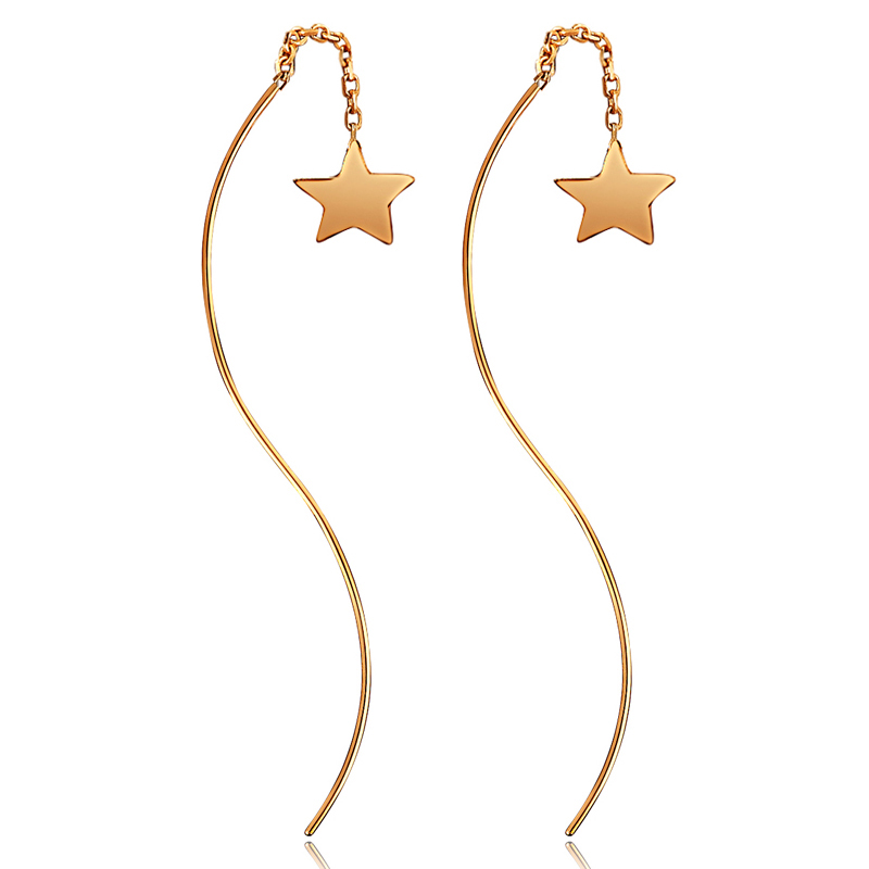 Solid AU750 Rose Gold Earrings Women Long Earrings Star Earrings 0.6g цена