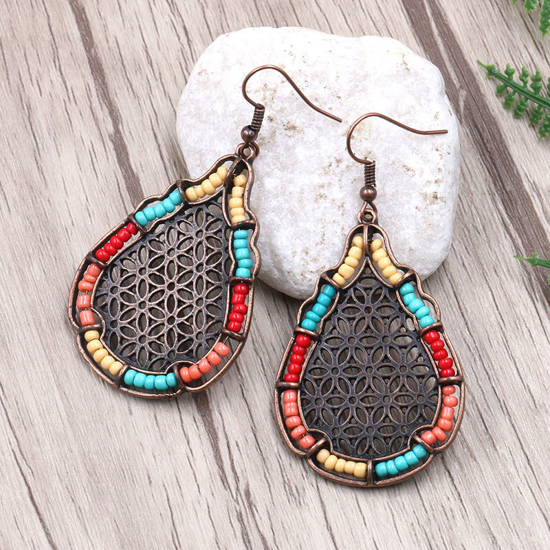 2019 New Long Dangler Hollow Teardrop Earrings Party Jewelry Accessories Handmade Fashion Ear Jewelry for Women Wholesale in Drop Earrings from Jewelry Accessories
