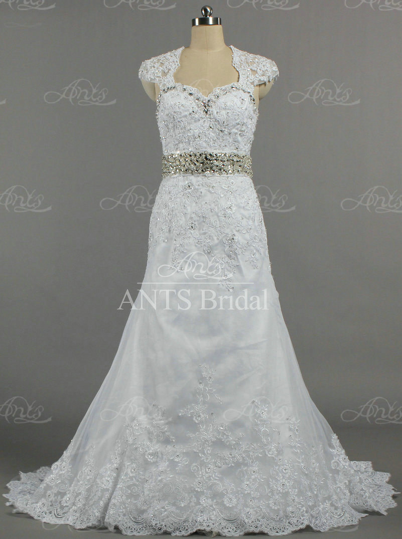 Aw021 beaded belt detachable cap sleeve a line lace for Lace cap sleeve keyhole back wedding dress