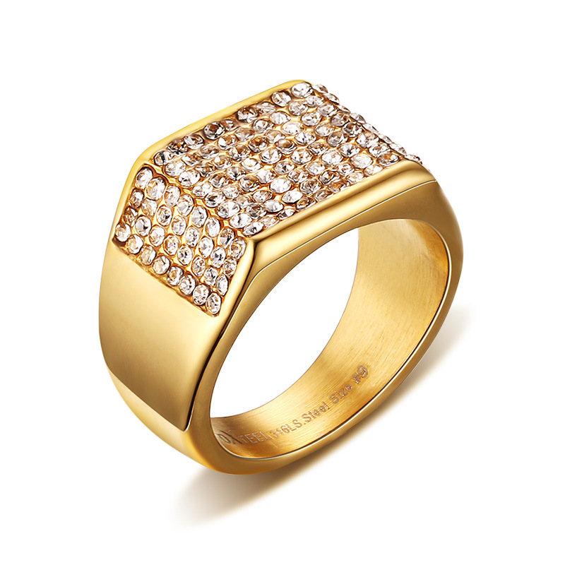 Eamior 11mm Gold Romantic Ring Stainless Steel Inlay Three Sides