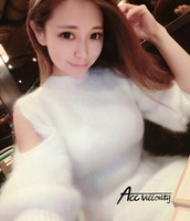 Genuine Mink Cashmere Sweater Women Pullovers Knitted Leakage Shoulder Half Sleeve Free Shipping