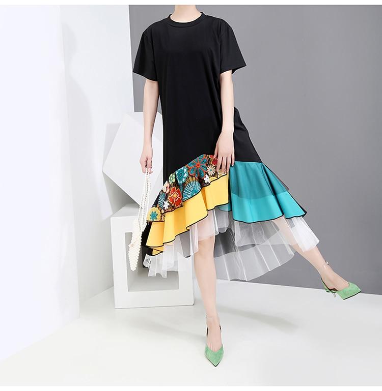 New Fashion Style Summer Black A-Line Colorful Hem Knee Length Dress Fashion Nova Clothing