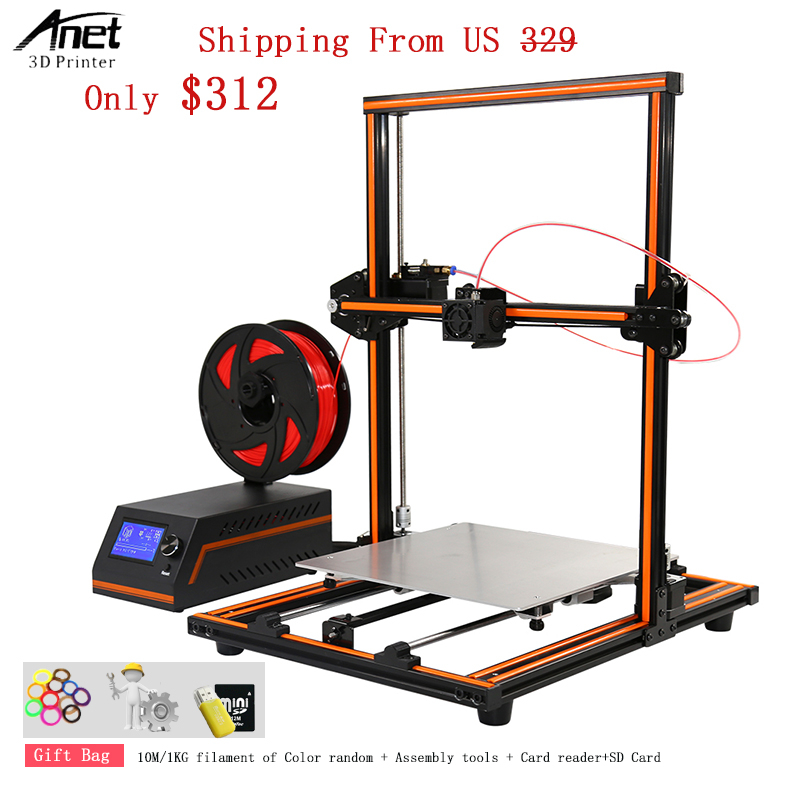 Aluminum Frame And Steel Case Easy Assembly Desktop 3d Printer High Printing Speed 120MM/S Anet E12 3D Printer Shipping Free US
