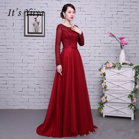 It's YiiYa Red Long Sleeves Beading Backless Tulle Flower Lace Up Party Formal Dress Floor Length Evening Dresses LX062